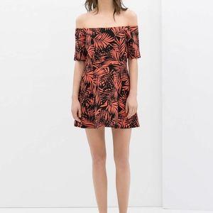 Zara Red Palm Printed Off Shoulder Skater DressS